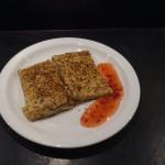 Cheese & Salami Pancake with Sweet Chili Sauce